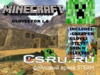 Модель рук Retextured Weapons with Minecraft Hand